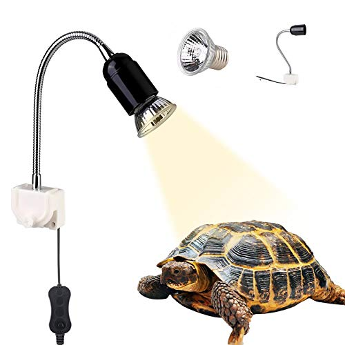 GOLDGE Tartaruga Illuminazione, 25W Basking Lampada Alogena Calore Retroilluminazione UVA UVB per Rettile Lucertola Tartaruga...