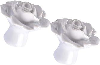 CLISPEED 2 stuks keramische roos bloem kast commode, lade knoppen kast lade trekkende handgrepen kast knoppen meubels knoppen