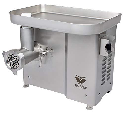 Beeketal 'FW900P' Industrie Fleischwolf für bis zu 300 kg/Std. Durchsatz mit Rückwärtsgang mit ölgelagertem Getriebe und direktübersetztem 1100W Motor - Inkl. 2 Messer, 3 Lochscheiben, Fleischstopfer