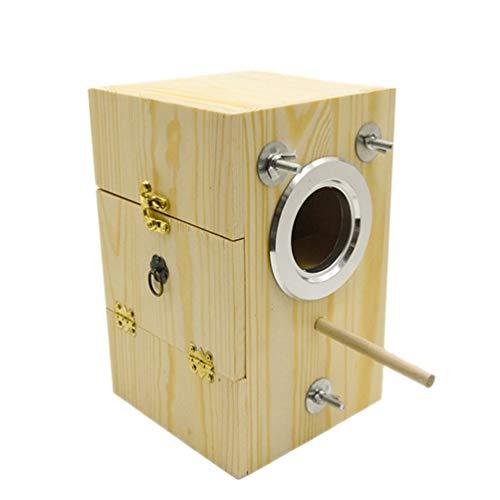VILLCASE Vogelnester Box für Käfig Holz Zuchtbox für Lovebirds Nymphensittich Papagei Wooe Nistkasten für Sittich Conure Größe M