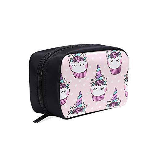 Sac de maquillage de week-end Seamless Pattern Cute Cupcake Licorne sur sac de toilette suspendu pour les filles Nouveau sac fourre-tout Sacs de voyage à fermeture éclair Sacs à cosmétiques Sac multi