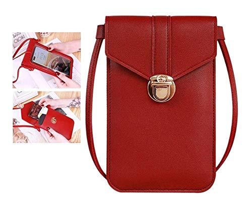 Touchscreen-Telefon PU-Leder für Damen Tasche, Mini Crossbody Handy-Umhängetasche, leichte Schnalle Anti Thefttouch Bequemer Crossbody (Color : Red)