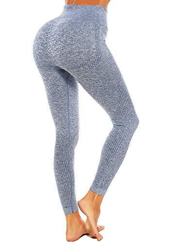 CROSS1946 Leggings de deporte para mujer, cintura alta, para gimnasio, fitness, yoga, opacos, transpirables, pantalones de deporte, yoga, ropa de calle Trousers-blue S