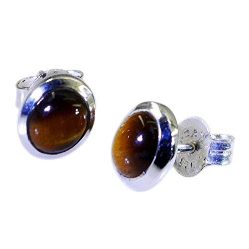 Pendientes de ojo de tigre natural para las mujeres de plata de ley 925 joyería de moda para regalo forma redonda empuje hacia atrás