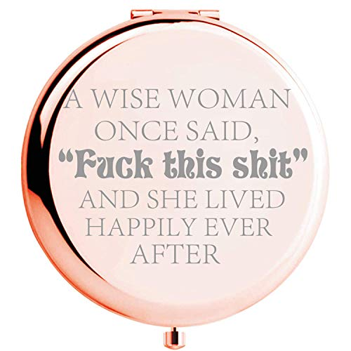 Fnbgl Personalized Travel Pocket Makeup Mirror A Wise Woman Once Said Gifts Funny Birthday,...