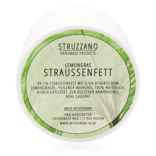 Struzzano - Straußenfett, vielseitige HEILENDE WIRKUNG, HEILUNGSWUNDER, zur HAUTPFLEGE, 100% natürlich, 4-fach gefiltertes Straußenfett, 100ml LEMONGRAS