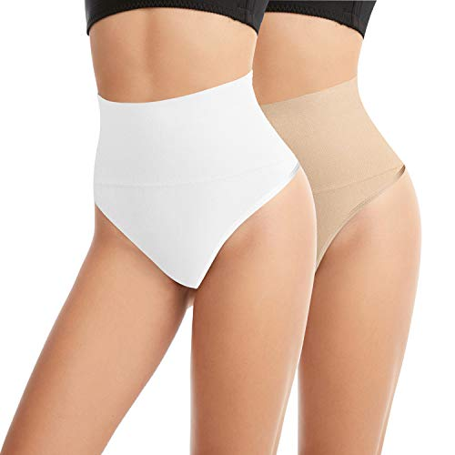 Libella - Culotte String Femme - Gaine Ventre Plat - sans Couture - correcteur Taille Haute 3601 Blanc et Couleur de Peau S/M