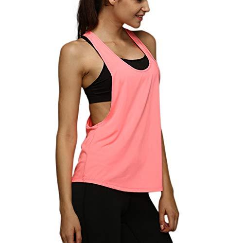 Camiseta Tirantes sin Mangas de Deporte para Mujer Verano, Tank Top Clásico Chaleco para Fitness Gimnasio Yoga Colores Opcionales Camiseta de Pijama Dormir (L, Rosa)