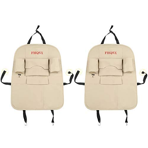 FHQSX PU Leather Car Back Seat Organizer, Kick Protector 2 Pack for Kids - Beige