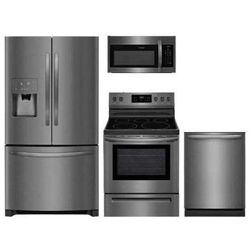 Frigidaire 4 Piece Kitchen Appliance Package With FFHB2750TD 36' French Door Refrigerator FFEF3054TD 30' Freestanding Electric Range FFMV1645TD 30' Over-the-Range Microwave and FFID2426TD 24' Fully Integrated Dishwasher in Black Stainless Steel