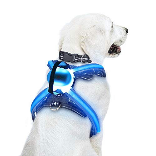 WINSEE LED Illuminated and Reflective Dog Harness/Vest No Pull Collar for Large Big Pets, Sturdy Handle and Multicolored Fiber Optics, Easy Control, USB Rechargeable, Adjustable, Removable, Rainproof