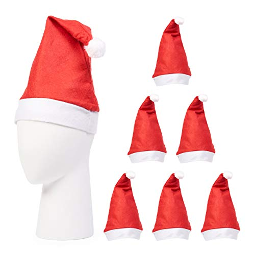 THE TWIDDLERS 20 Cappello da Babbo Natale per Bambini e Adulti| Feltro Premium, Riutilizzabile, Ecologico| Costume Natalizio Classico per Feste, Decorazione.