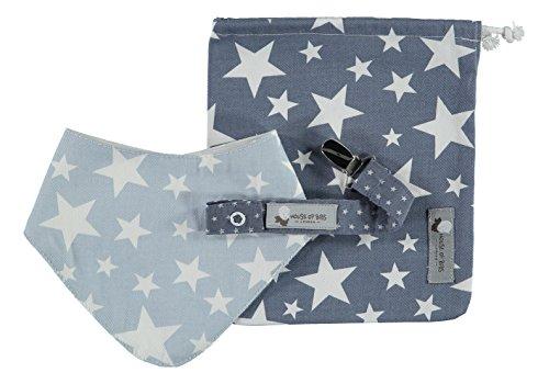House of Bibs - Cadeau Bébé - Bleu avec des étoiles blanches