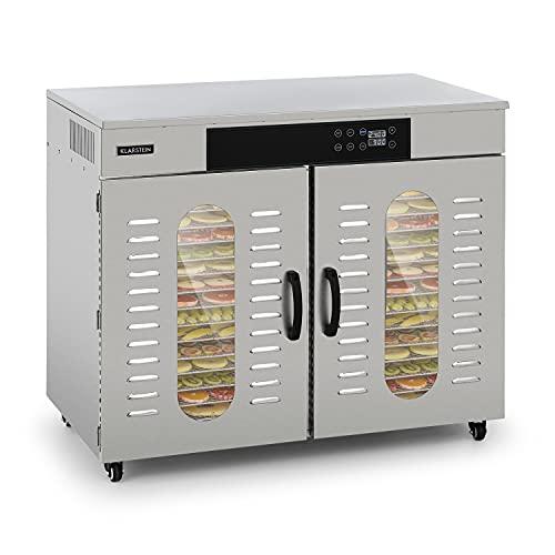 Klarstein Master Jerky 500 Pro deshidratadora profesional - 32 pisos, 3000 W, capacidad de 4,86 m², termostato: 40-90 °C, 180 kg de fruta y verdura, carcasa de acero inoxidable