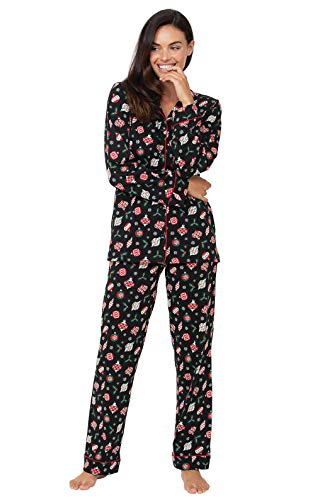 Image of Button Style Holiday Ornaments Christmas Pajamas for Women - PajamaGram