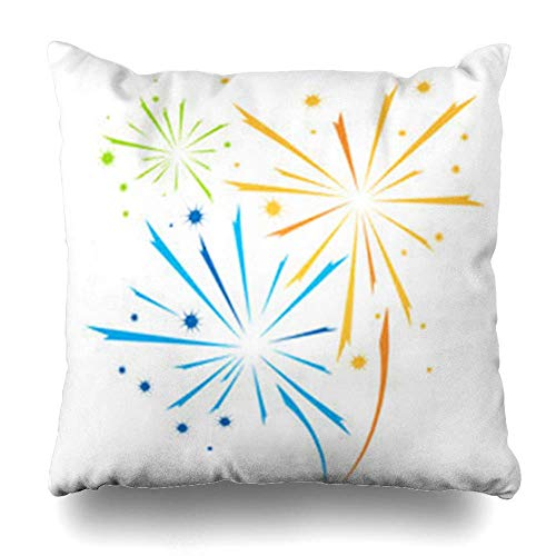 Klotr Fundas para Almohadas Carnival Blue Fourth Firework Abstract Holidays Excitement Red July Star Event Black Clip Pillowcase Square Size 18 X 18 Inches Home Decor Cushion Cases