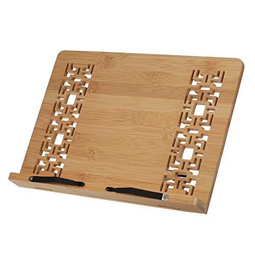Zwbfu Suporte de livro de bambu dobrável ajustável 4 ângulos Retro Oco Design Suporte de livro Suporte de mesa de leitura Suporte de suporte de mesa para livro de receitas Receita Livro de música Livr