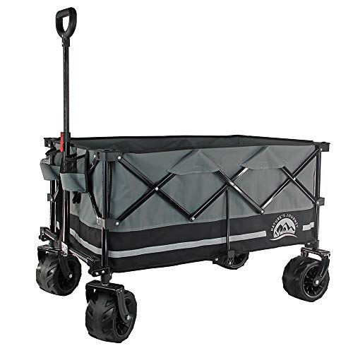Nature'S Journey Heavy Duty Folding Wagon, Collapsible Outdoor Utility Wagon, with Oversized Bed and All Terrain Wheels, Black/ Grey