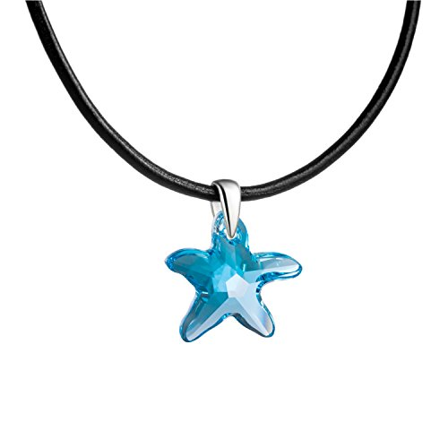 butterfly Mädchen Lederkette Swarovski Elements Seestern Hell-blau Längen-verstellbar Schmuck-Beutel Firmung Geschenk