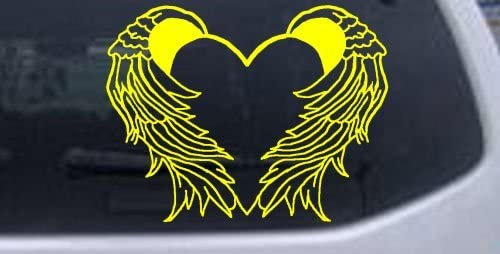6in X 7 8in Yellow Heart With Wings Car Window Wall Laptop Decal Sticker product image