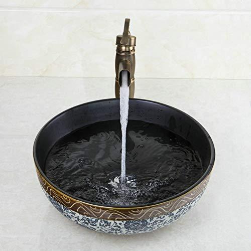 WEILINW Waschbecken Wasserhahn SetBadezimmer Keramik RundwaschbeckenAntik Messing Deck montiert Wasserhahn Wasserhahn Wasserhahn