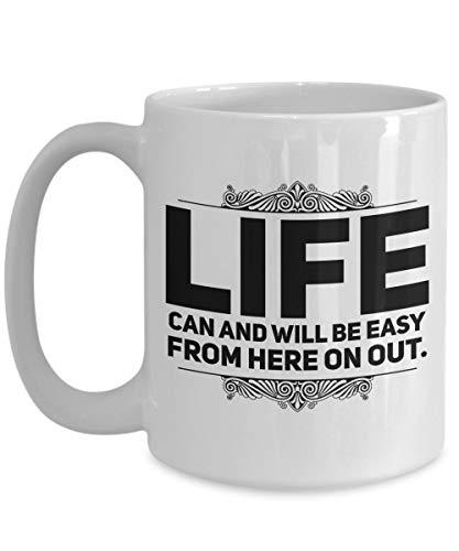 N\A aza de meditación - La Vida Puede ser fácil de aquí en adelante - Taza de café Mantra Grande - Cumpleaños, Aniversario, calcetín, a Dieta, Esposo, Esposa, Amigo, Novio, Novia, hombr