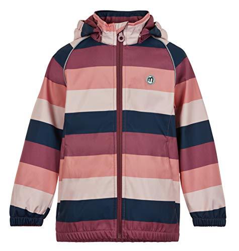 MINYMO Girls Softshell Stripe Shell Jacket, Roan Rouge, 140