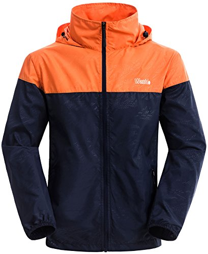 Wantdo Men's Lightweight Windbreaker Fall Packable Sport Outdoor Hooded Jacket