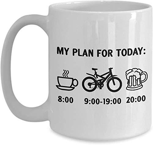 Mijn plan voor vandaag, Fietsen Schema Koffiemok, Fiets Geschenken voor Biker, Grappige Fietsen en Fietsen Thee Beker, Mountainbike, Vuilfiets, Motorfiets, Racing Road Bike Koffiemok, 11-11 OZ Witte Ceram
