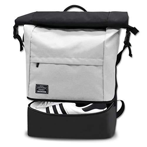 Sporttasche für männer Frauen, Umhängetasche für das Fitnessstudio, Reiserucksack,Gym Bag 3 in 1 Design mit Schuhfach, Gym Tasche wasserdicht und leicht (Schwarz-Weiss)
