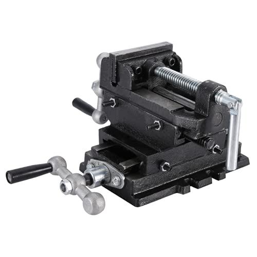 Prensa de taladro tornillo de banco, tornillo de banco de deslizamiento transversal Máquina de abrazadera X-Y de alta resistencia duradera con 2 manivelas giratorias(6 pulgadas 150 mm)