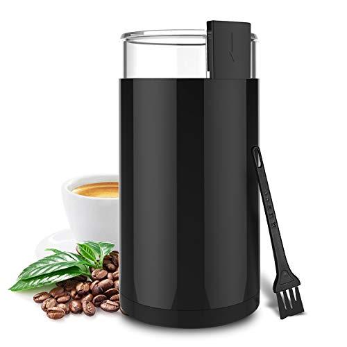 Macina Caffé, Wancle Macinacaffè Elettrici Grinder Elettrico per Chicchi di Caffè, Erbe, Noci, Cereali, 150W, Nero