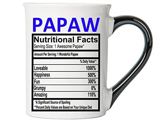 Cottage Creek Coffee Mug, Papaw Coffee Mug, Large Ceramic 18 oz Food Label Papaw Coffee Cup, Papaw Mug [White]