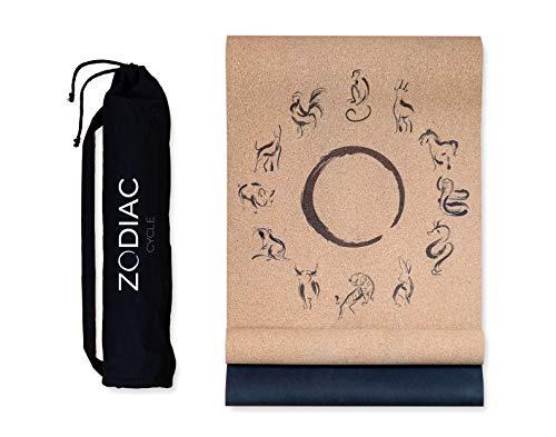 ZODIAC CYCLE Premium Yogamatte Kork mit Canvas Bag - nachhaltig, rutschfest, leicht, dünn 100% recyclebares Material - Yoga Matte aus Kork und Naturkautschuk, [183 x 63 x 0,3 cm]
