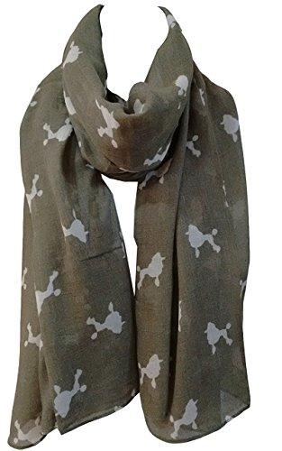 GlamLondon, sciarpa con stampa di barboncino per cani di razza caniche barbone da donna kaki-verde L