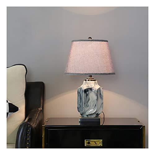 Lampara Mesa Cerámica de noche Mesilla de noche lámpara de mesa glaseado de tinta pintura de hielo Grieta Escritorio Pantalla de lámpara lino Tela de tambor for la sala de estar Dormitorio Duradero