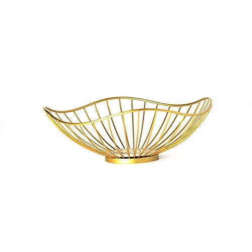 Tnaleve - Cesta de frutas de metal para frutas (hierro forjado, bandeja de frutas para decoración de encimera, color dorado, diámetro 27 cm, altura 9 cm)