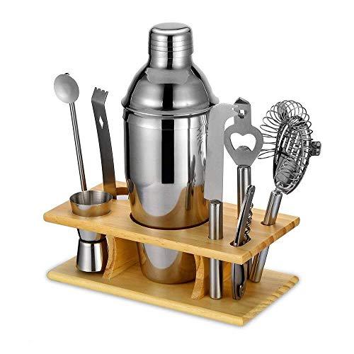 Suministros de Vino 9Pcs Cocktail Shaker Set w/Wood Base, Cocktail Maker Set Kit de preparación de cócteles Conjunto de Herramientas de Barra de Acero Inoxidable Suministros de Barman Bar Herramient