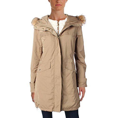 Ellen Tracy Women's Water Resistant Faux Fur Trim Hooded Parka Coat Gold Size S