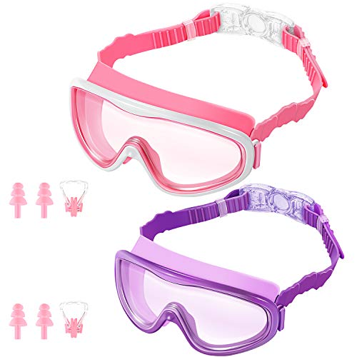 KNGUVTH Kids Swim Goggles Pack of 2 No Leaking Swimming Goggles AntiFog UV Protection Crystal Clear Wide Vision Swim Glasses with Nose Clips  Ear Plugs for Children Early Teens Pink amp Purple