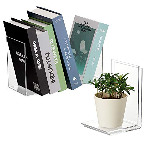 Amazing Abby Acrylic L-Shape Heavy-Duty Bookends for Books, Magazines, and More (2 Pairs; 4 Pieces)