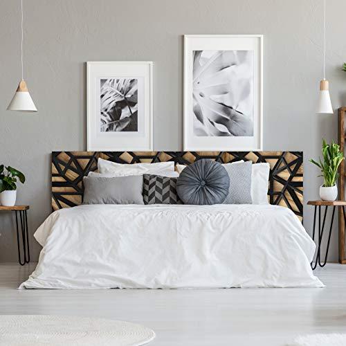 MEGADECOR Cabecero Cama PVC Decorativo Económico Diseño Abstracto Madera y Plástico Negro Varias Medidas (150 cm x 60 cm)