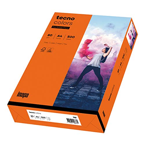 inapa farbiges Druckerpapier, buntes Papier tecno Colors: 80 g/m², A4, 500 Blatt, intensivorange