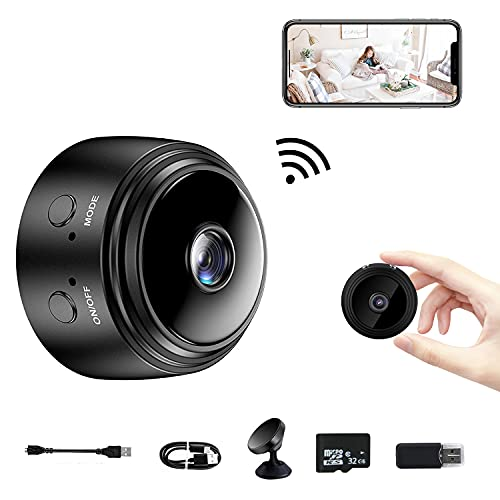 Security Indoor Wireless Camera - Wireless WiFi HD 1080P Home Motion Detection for Baby Monitor Mini Cameras with 32G SD Card, Small Nanny Cam, Night Vision and Motion Detection for Car Office Outdoor