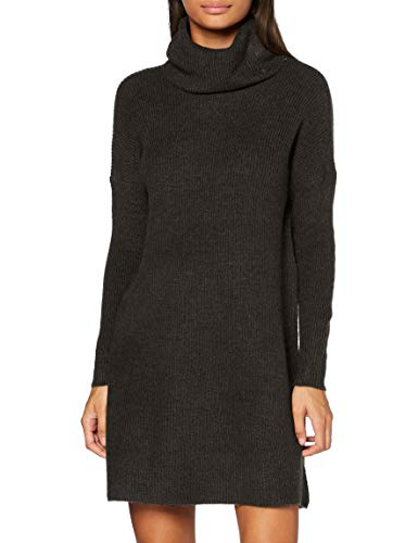 ONLY Damen ONLJANA L/S COWLNCK Dress Wool KNT NOOS Pullover, Grau (Dark Grey Melange Dark Grey Melange), 40 (Herstellergröße: L)