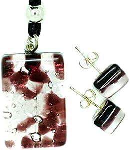Juego de pendientes y colgante de cristal de Murano de Venecia en caja de regalo