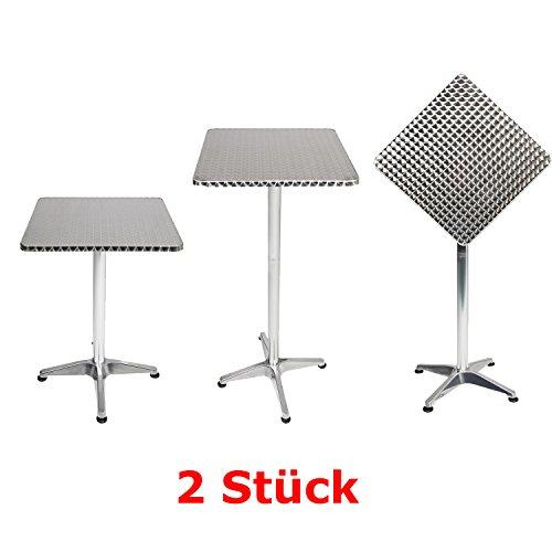 Mojawo 2 Stück Bistrostehtisch Terrassentisch Aluminium 60x60cm H70/110cm Balkontisch Gartentisch Bistrotisch klappbar höhenverstellbar