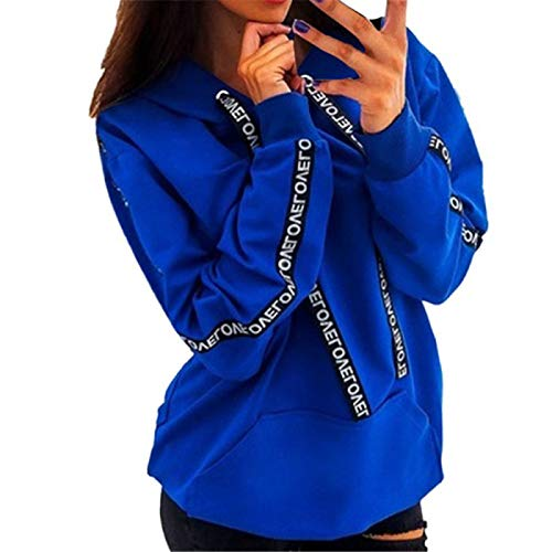 WMNU Women Autumn Winter Loose Sweatshirt Women Long Sleeve Solid Hooded Pullover Tops Blouse Letter Print Hoodies Blue