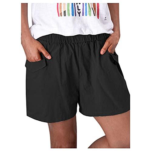 BIBOKAOKE Bermudas cortas para mujer, cintura alta, sueltas, para el tiempo libre, elegantes, para la playa, con pierna recta, pantalones cortos para correr