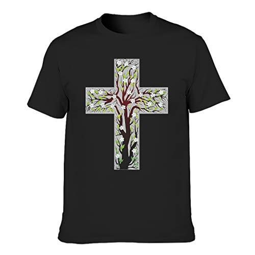 Xuanwuyi Kreuz Jesus Leichtes Sommer T-Shirt Home Heavy Baumwolle Rundhals für Outdoor Gr. M, Schwarz